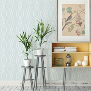 2782-24516 Brewster Wallcovering A Street Prints Habitat Coventry Trellis Wallpaper Light Blue Room Setting