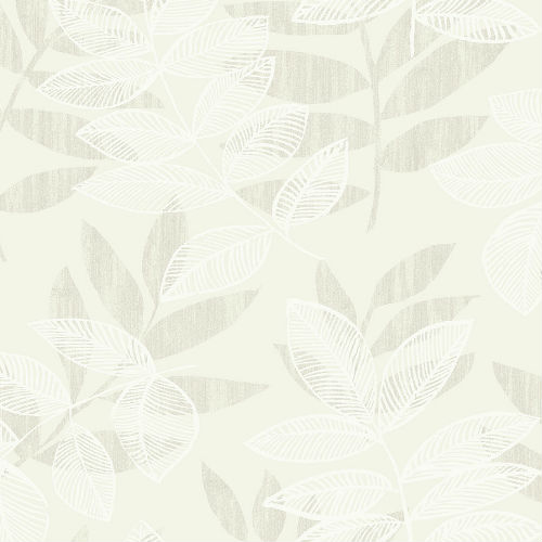 2793-87320 Brewster Wallcovering A Street Prints Celadon Chimera Flocked Leaf Wallpaper Champagne
