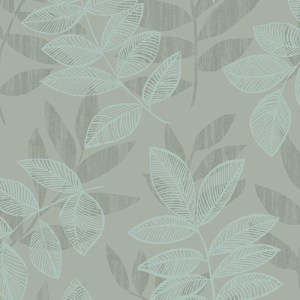 2793-87323 Brewster Wallcovering A Street Prints Celadon Chimera Flocked Leaf Wallpaper Turquoise