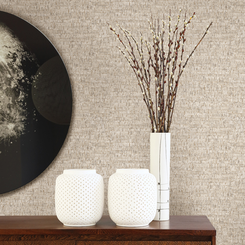 2767-23768 Brewster Wallcovering Techniques and Finishes 3 Burl Small Cork Wallpaper Room Setting
