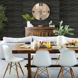 2767-23820 Brewster Wallcovering Techniques and Finishes 3 Nika Sleek Wood Wallpaper Room Setting