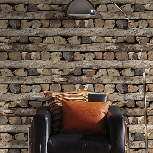 2774-931808 Brewster Wallcovering Advantage Stones and Woods Bighorn Logs Wallpaper Room Setting
