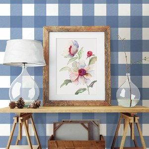 3115-12533 Brewster Wallcovering Chesapeake Farmhouse Selah Gingham Wallpaper Room Setting