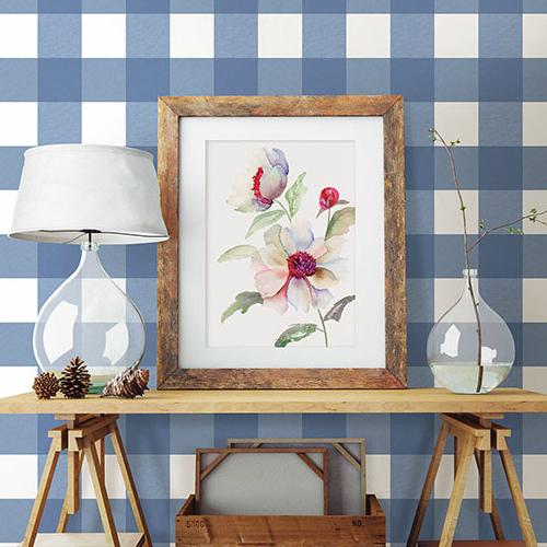 3115-12533 Brewster Wallcovering Chesapeake Farmhouse Selah Gingham Wallpaper Room Setting
