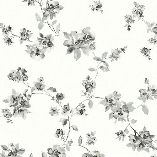3115-24482 Brewster Wallcovering Chespeake Farmhouse Cyrus Floral Wallpaper Black