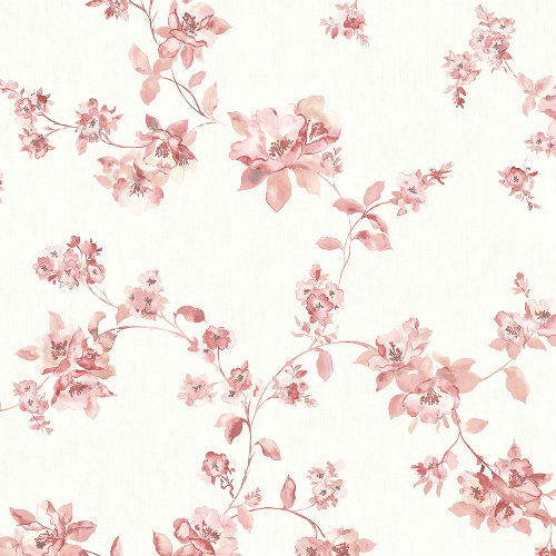 3115-24483 Brewster Wallcovering Chespeake Farmhouse Cyrus Floral Wallpaper Rose