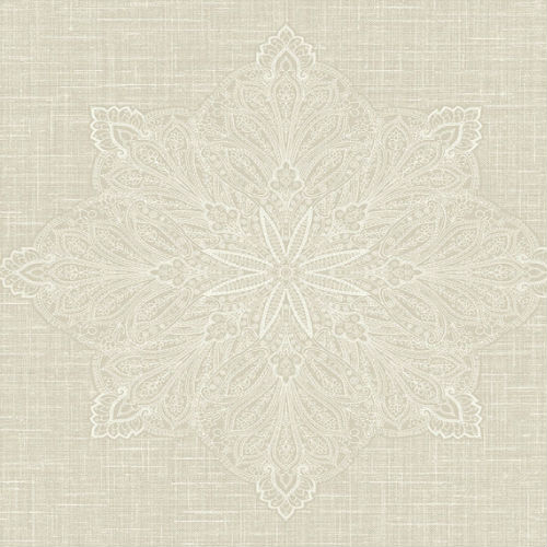 1620005 Seabrook Wallcovering Etten Gallerie Bruxelles Filigree Medallion Wallpaper Beige