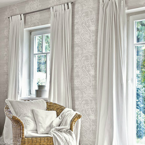 1620410 Seabrook Wallcovering Etten Gallerie Bruxelles Striped Paisley Wallpaper Grey Room Setting