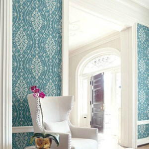 1620902 Seabrook Wallcovering Etten Gallerie Bruxelles Ogee Damask Wallpaper Blue Room Setting