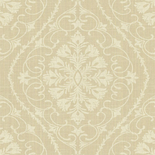 1620910 Seabrook Wallcovering Etten Gallerie Bruxelles Ogee Damask Wallpaper Khaki