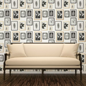 2773-937503 Brewster Wallcovering Advantage Neutral Black White Rumer Gallery Wallpaper Room Setting