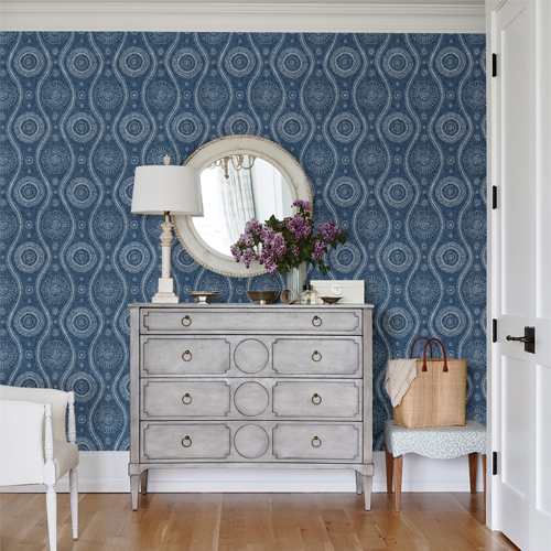 2785-24802 Brewster Wallcoverings A Street Prints Sarah Richardson Signature Painterly Wallpaper Room Setting