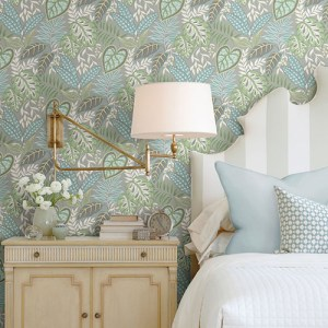 2785-87421 Brewster Wallcovering A Street Prints Sarah Richardson Signature Jasmine Botanical Wallpaper Room Setting