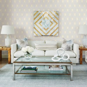 2785-24838 Brewster Wallcovering A Street Prints Sarah Richardson Signature Metro Mod Wallpaper Room Setting