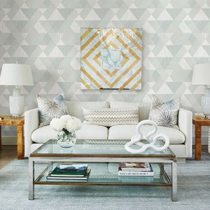 2785-24853 Brewster Wallcovering A Street Prints Sarah Richardson Signature Mod Peaks Wallpaper Room Setting