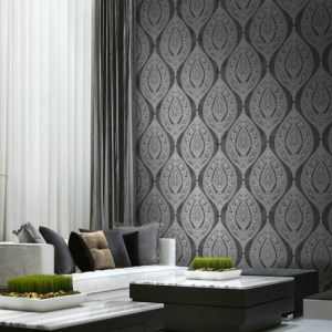 GC31100 Seabrook Wallcovering Collins and Company Monaco 2 Filigree Lace Ogee Wallpaper Room Setting