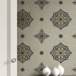 GC31507 Seabrook Wallcovering Collins and Company Monaco 2 Filigree Mandela Wallpaper Room Setting