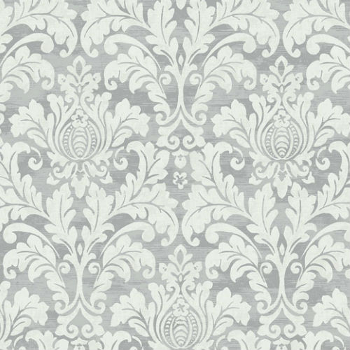 GC32707 Seabrook Wallcovering Collins and Company Monaco 2 Acanthus Damask Wallpaper Grey