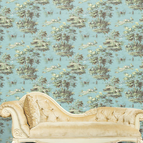 MH36517 Norwall Patton Wallcovering Manor House Lakeside Toile Wallpaper Room Setting