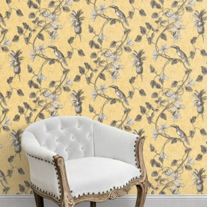 MH36531 Norwall Patton Wallcovering Manor House Tropical Toucan Wallpaper Room Setting