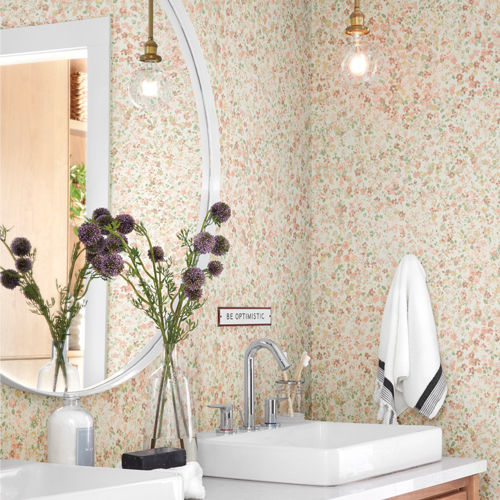 MK1120 York Wallcoverings Joanna Gaines Magnolia Home 3 Artful Prints and Patterns Meadow Wallpaper Room Setting
