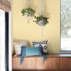 MK1152 York Wallcoverings Joanna Gaines Magnolia Home 3 Artful Prints and Patterns Stacked Scallops Wallpaper Room Setting