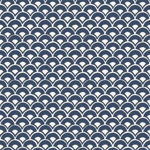 MK1156 York Wallcoverings Joanna Gaines Magnolia Home 3 Artful Prints and Patterns Stacked Scallops Wallpaper Navy