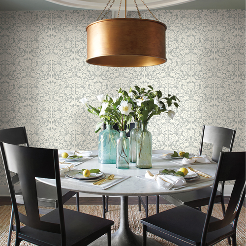 MK1161 York Wallcoverings Joanna Gaines Magnolia Home 3 Artful Prints and Patterns Fairy Tales Wallpaper Room Setting