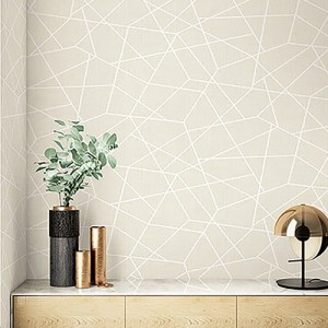 2765-BW40300 Brewster Wallcovering Kenneth James Geo Tex Heath Geometric Linen Wallpaper Cream Room Setting
