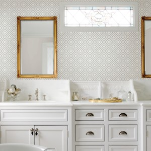 2809-87700 Brewster Wallcovering Advantage Geo Horus Diamond Geo Wallpaper Seafoam Room Setting