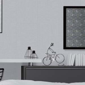 2809-IH18401A Brewster Wallcovering Advantage Geo Ronald Squares Wallpaper Off-White Room Setting