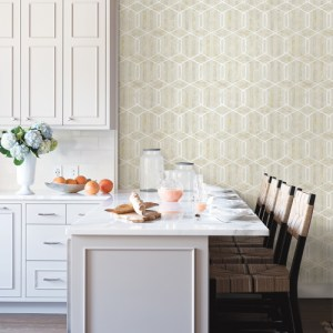 2809-SH01068 Brewster Wallcovering Advantage Geo Stormi Geometric Wallpaper Beige Room Setting