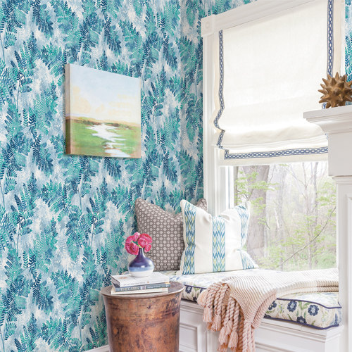 2811-LV04350 Brewster Wallcovering Advantage Nature Cyathea Fern Wallpaper Room Setting