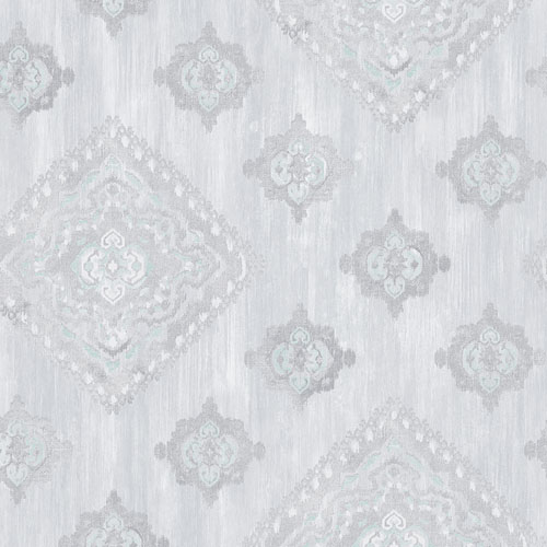 2810-SH01074 Brewster Wallcovering Advantage Tradition Leana Medallion Wallpaper Aqua