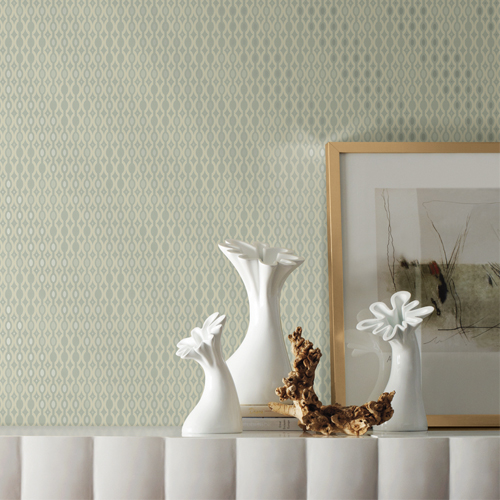 DI4752 York Wallcovering Dimensional Artistry Smoke and Mirrors Wallpaper Grey Room Setting