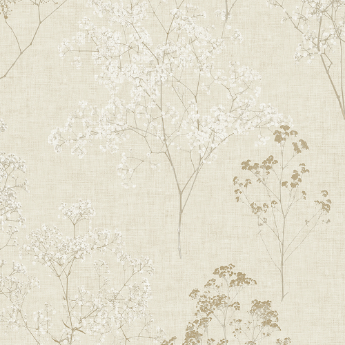 FH37508 Patton Wallcovering Norwall Farmhouse Living Queen Anne's Lace Wallpaper Beige