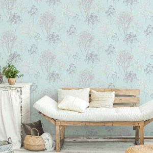 FH37510 Patton Wallcovering Norwall Farmhouse Living Queen Anne's Lace Wallpaper Sky Blue Room Setting