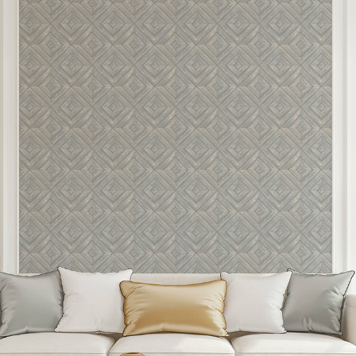 FH37515 Patton Wallcovering Norwall Farmhouse Living Wood Tile Wallpaper Ash Blue Room Setting