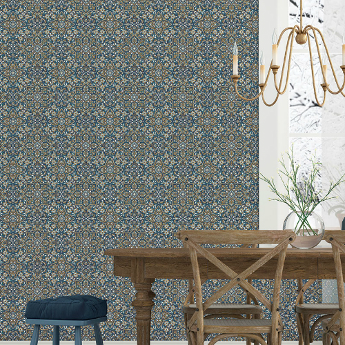 FH37542 Patton Wallcovering Norwall Farmhouse Living Floral Tile Wallpaper Blue Room Setting