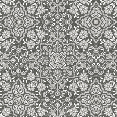 FH37543 Patton Wallcovering Norwall Farmhouse Living Floral Tile Wallpaper Black