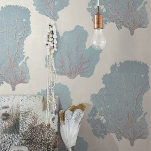 VA1209 York Wallcovering Aviva Stanoff Signature Collection Coral Couture Wallpaper Aqua Room Setting