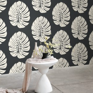 VA1236 York Wallcovering Aviva Stanoff Signature Collection Bali Leaf Wallpaper Black Room Setting