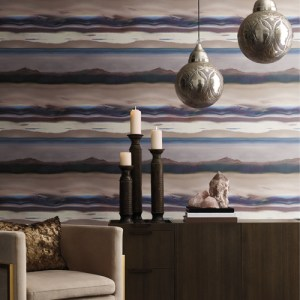 VA1272 York Wallcovering Aviva Stanoff Signature Collection Horizon Wallpaper Purple Room Setting