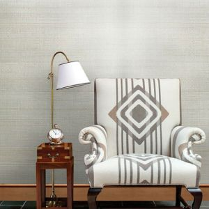 2732-54745 Brewster Wallcovering Kenneth James Canton Road Grasscloth Pearl River Grasscloth Wallpaper Silver Room Setting