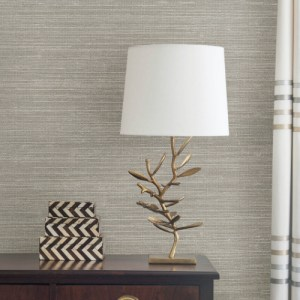 2732-80032 Brewster Wallcovering Kenneth James Canton Road Grasscloth Liaohe Grasscloth Wallpaper Silver Room Setting