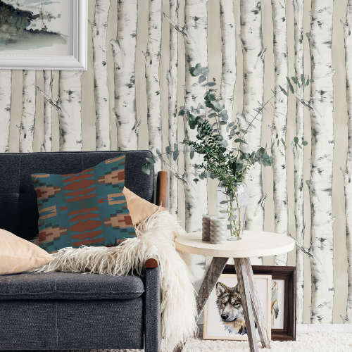 3118-12601 Brewster Wallcovering Chesapeake Birch and Sparrow Pioneer Birch Wallpaper Off-White Room Setting