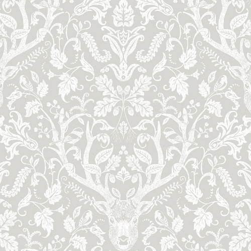 3118-12701 Brewster Wallcovering Chesapeake Birch and Sparrow Kiwassa Antler Damask Wallpaper Taupe