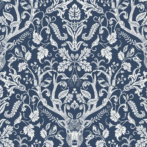 3118-12703 Brewster Wallcovering Chesapeake Birch and Sparrow Kiwassa Antler Damask Wallpaper Navy
