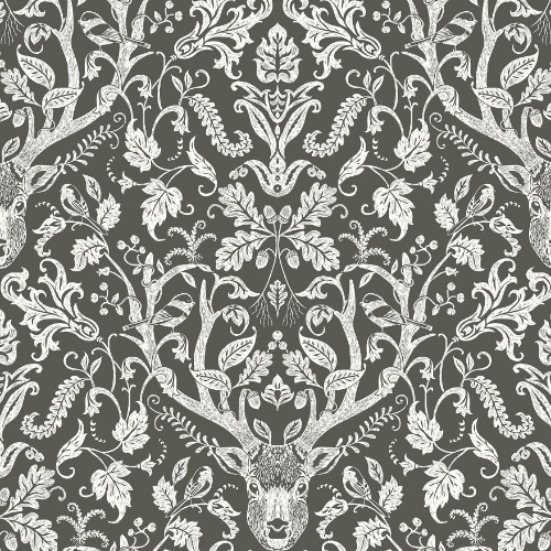 3118-12704 Brewster Wallcovering Chesapeake Birch and Sparrow Kiwassa Antler Damask Wallpaper Brown