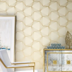 OL2719 York Wallcovering Candice Olson Journey Honeycomb Wallpaper Gold Room Setting